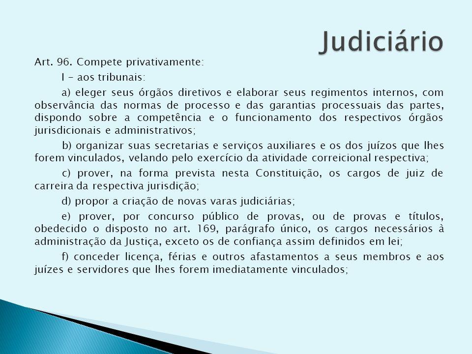Art. 96. Compete privativamente: I - aos tribunais: a) eleger seus órgãos diretivos e elaborar seus regimentos internos, com observância das normas de