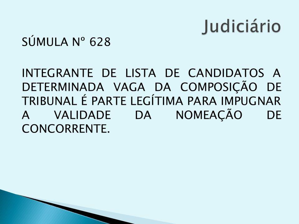 SÚMULA Nº 628 INTEGRANTE DE LISTA DE CANDIDATOS A DETERMINADA VAGA DA COMPOSIÇÃO DE TRIBUNAL É PARTE LEGÍTIMA PARA IMPUGNAR A VALIDADE DA NOMEAÇÃO DE