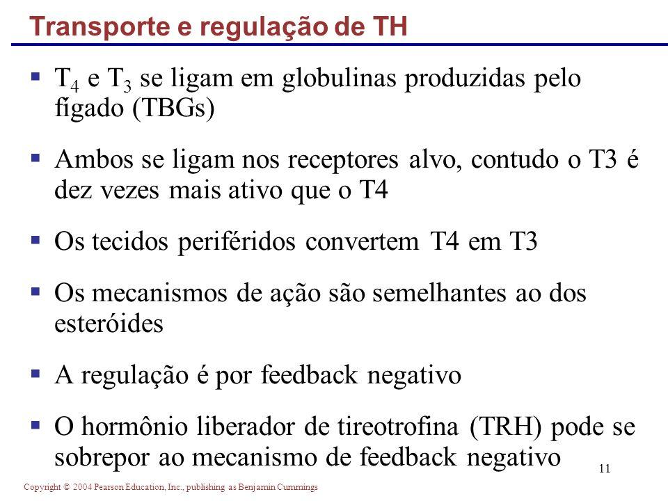Copyright © 2004 Pearson Education, Inc., publishing as Benjamin Cummings 11 T 4 e T 3 se ligam em globulinas produzidas pelo fígado (TBGs) Ambos se l
