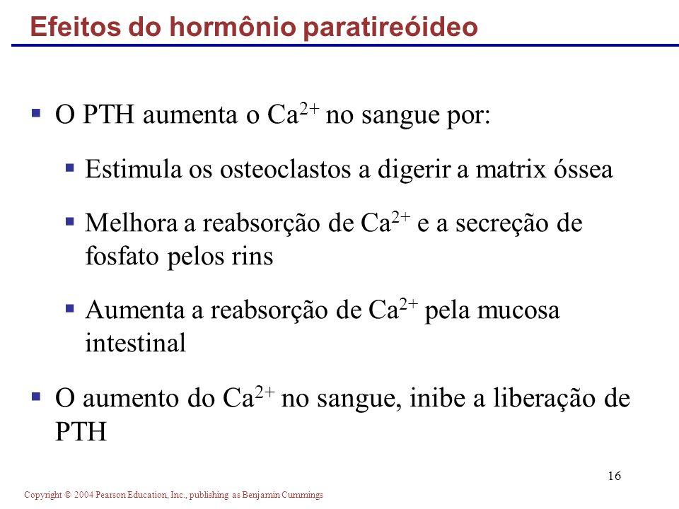 Copyright © 2004 Pearson Education, Inc., publishing as Benjamin Cummings 16 O PTH aumenta o Ca 2+ no sangue por: Estimula os osteoclastos a digerir a