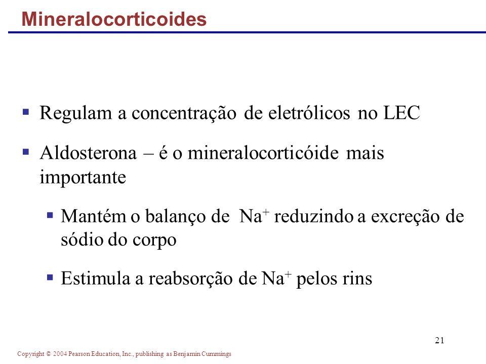 Copyright © 2004 Pearson Education, Inc., publishing as Benjamin Cummings 21 Regulam a concentração de eletrólicos no LEC Aldosterona – é o mineraloco