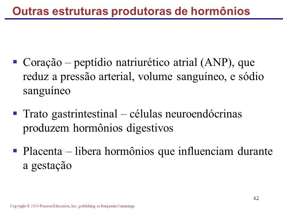 Copyright © 2004 Pearson Education, Inc., publishing as Benjamin Cummings 42 Coração – peptídio natriurético atrial (ANP), que reduz a pressão arteria