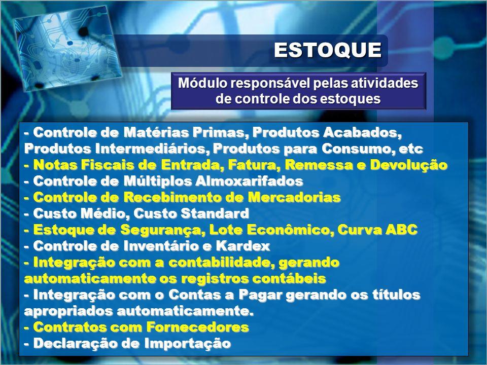 ESTOQUEESTOQUE - Controle de Matérias Primas, Produtos Acabados, Produtos Intermediários, Produtos para Consumo, etc - Notas Fiscais de Entrada, Fatur
