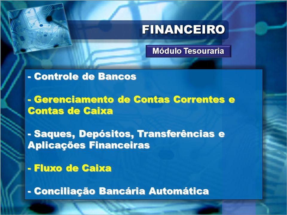 FINANCEIROFINANCEIRO - Controle de Bancos - Gerenciamento de Contas Correntes e Contas de Caixa - Saques, Depósitos, Transferências e Aplicações Finan