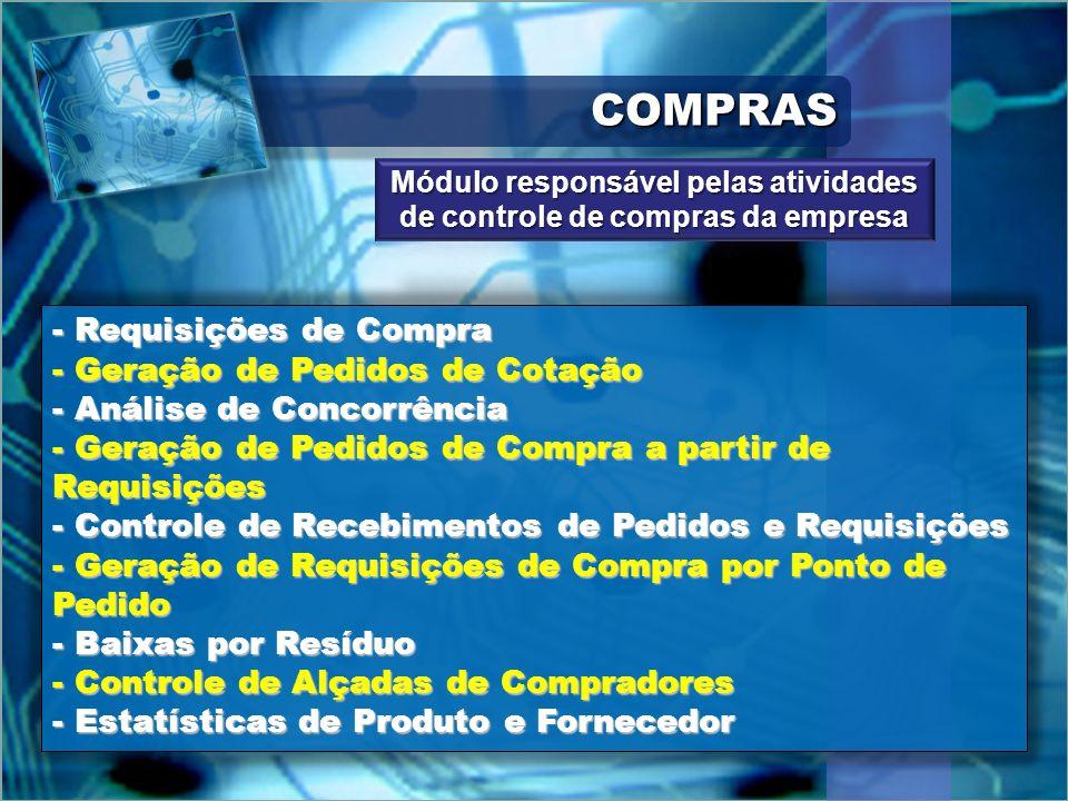 COMPRASCOMPRAS - Requisições de Compra - Geração de Pedidos de Cotação - Análise de Concorrência - Geração de Pedidos de Compra a partir de Requisiçõe