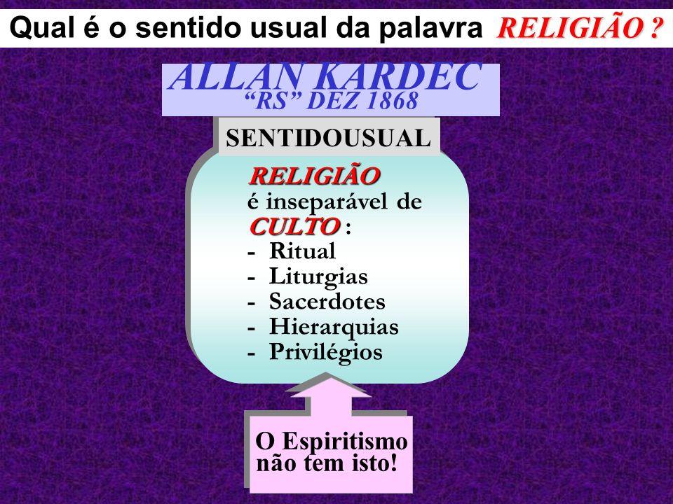 RELIGIÃO CULTO RELIGIÃO é inseparável de CULTO : - Ritual - Liturgias - Sacerdotes - Hierarquias - Privilégios SENTIDOUSUAL Qual é o sentido usual da
