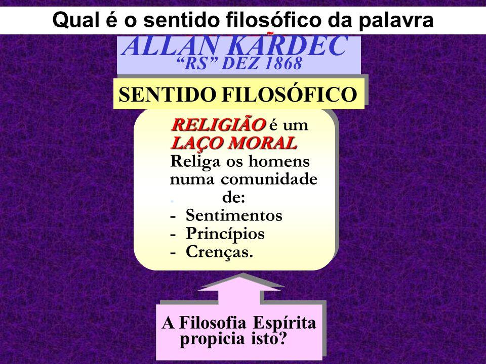 RELIGIÃO LAÇO MORAL RELIGIÃO é um LAÇO MORAL Religa os homens numa comunidade. de: - Sentimentos - Princípios - Crenças. SENTIDO FILOSÓFICO A Filosofi