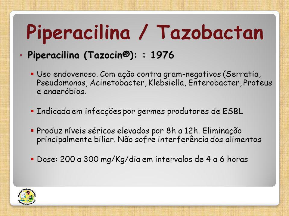 Piperacilina (Tazocin®): : 1976 Uso endovenoso. Com ação contra gram-negativos (Serratia, Pseudomonas, Acinetobacter, Klebsiella, Enterobacter, Proteu