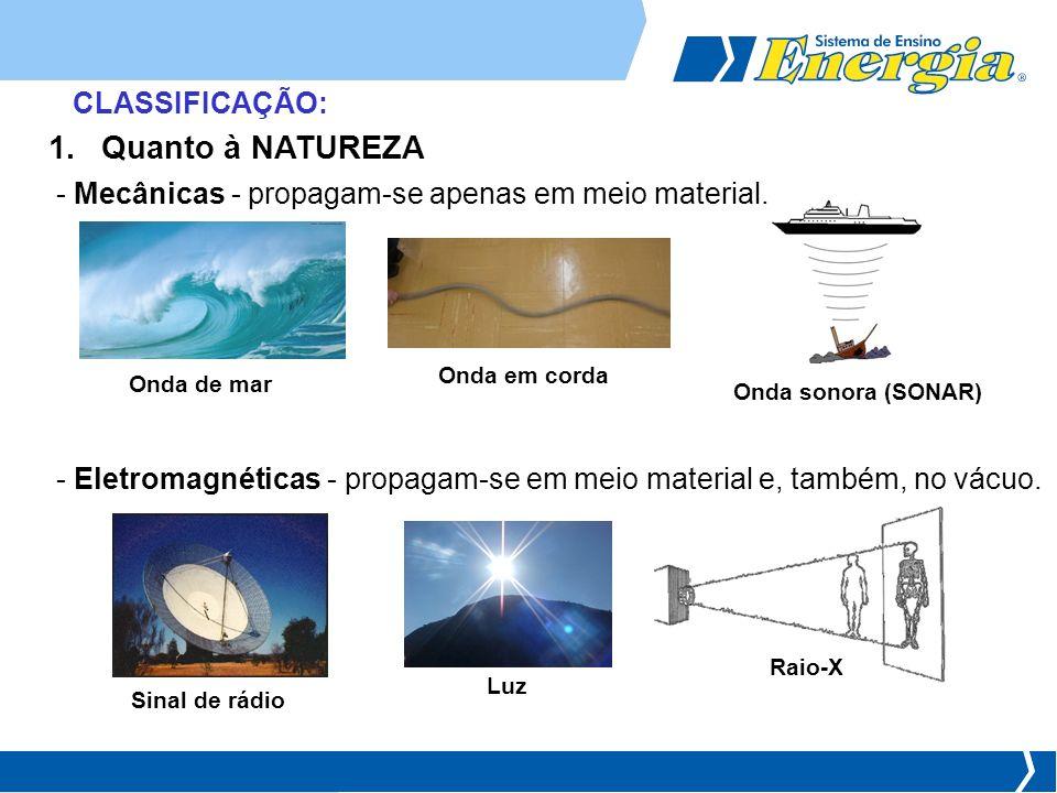 CLASSIFICAÇÃO: 1.Quanto à NATUREZA - Mecânicas - propagam-se apenas em meio material. Onda de mar Onda em corda Onda sonora (SONAR) - Eletromagnéticas