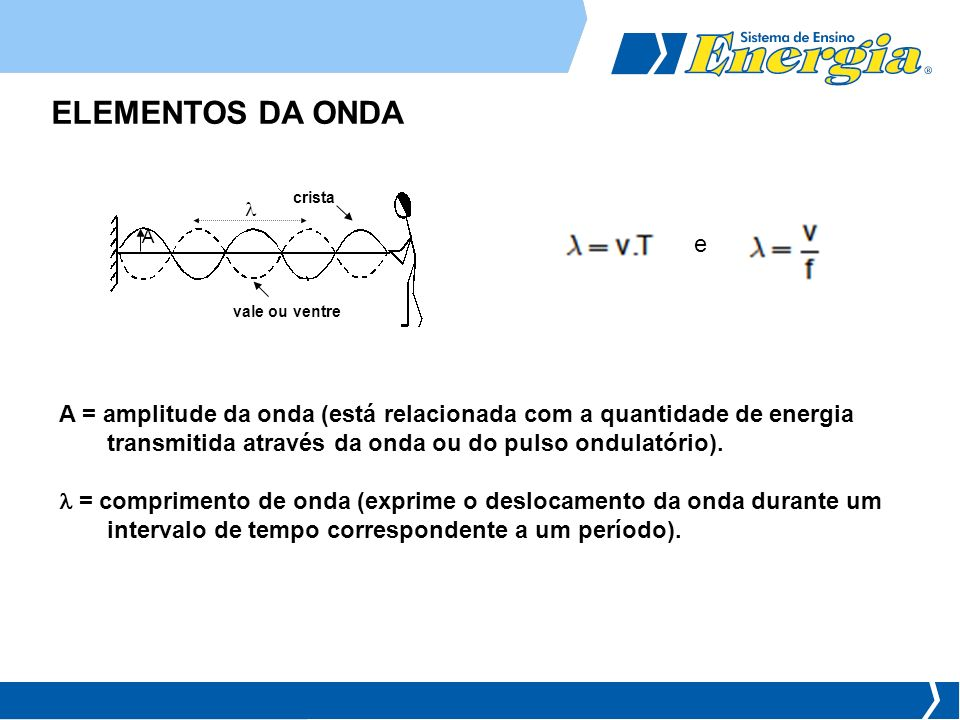 ELEMENTOS DA ONDA A = amplitude da onda (está relacionada com a quantidade de energia transmitida através da onda ou do pulso ondulatório). = comprime
