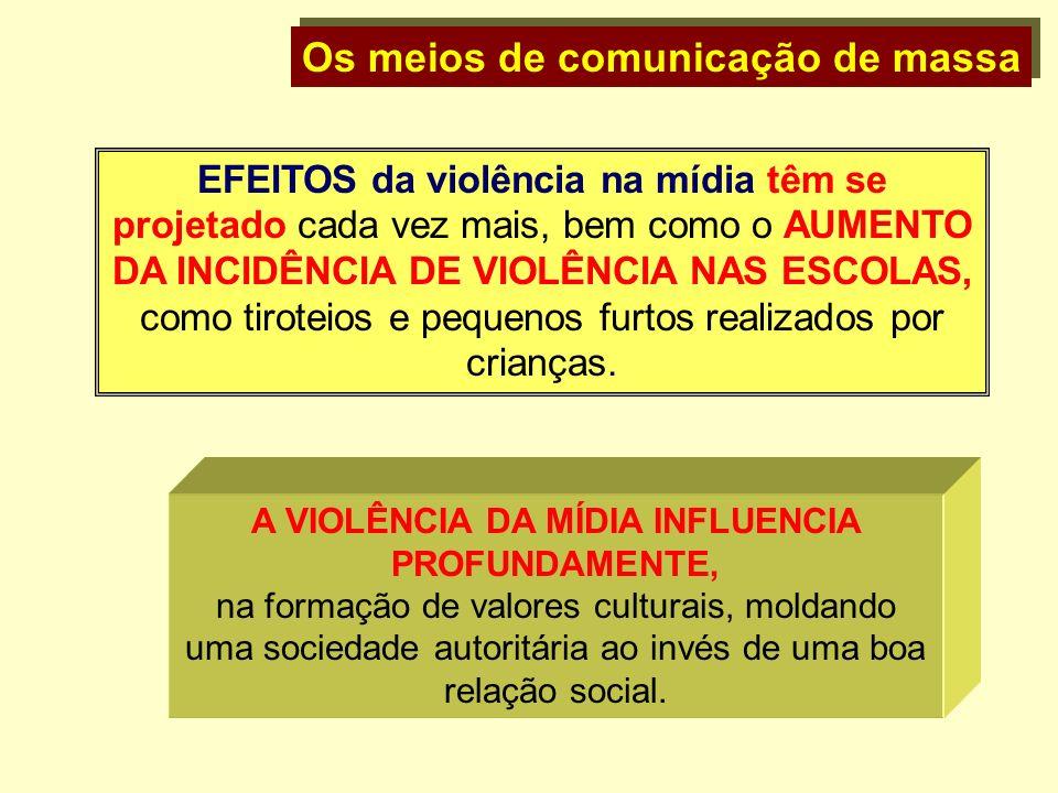 Os meios de comunicação de massa EFEITOS da violência na mídia têm se projetado cada vez mais, bem como o AUMENTO DA INCIDÊNCIA DE VIOLÊNCIA NAS ESCOL
