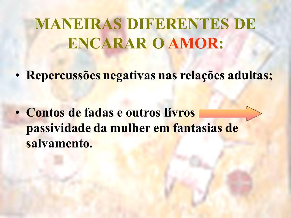 MANEIRAS DIFERENTES DE ENCARAR O AMOR: Repercussões negativas nas relações adultas; Contos de fadas e outros livros passividade da mulher em fantasias
