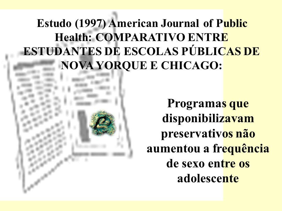 Estudo (1997) American Journal of Public Health: COMPARATIVO ENTRE ESTUDANTES DE ESCOLAS PÚBLICAS DE NOVA YORQUE E CHICAGO: Programas que disponibiliz