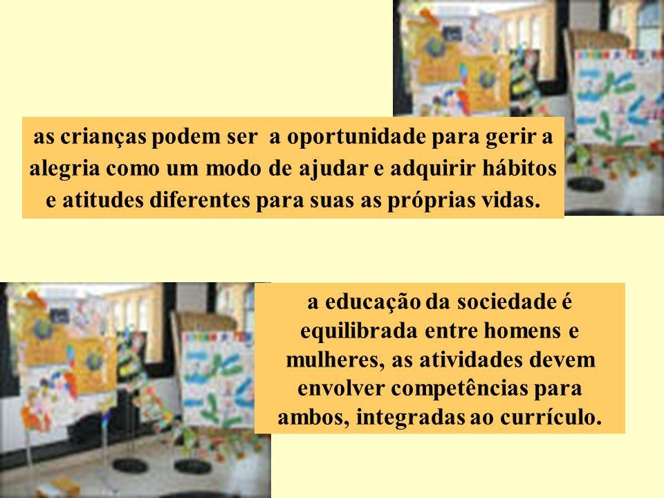 a educação da sociedade é equilibrada entre homens e mulheres, as atividades devem envolver competências para ambos, integradas ao currículo. as crian