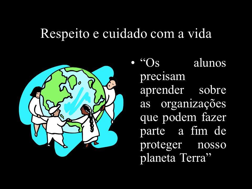 Respeito e cuidado com a vida Os alunos precisam aprender sobre as organizações que podem fazer parte a fim de proteger nosso planeta Terra