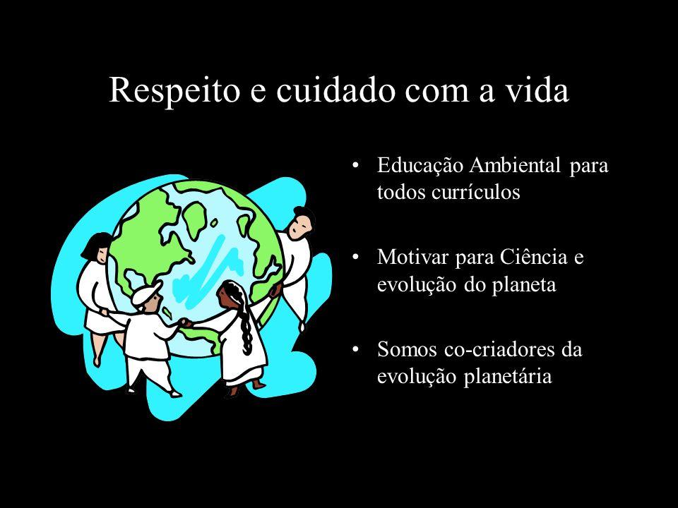 Respeito e cuidado com a vida Educação Ambiental para todos currículos Motivar para Ciência e evolução do planeta Somos co-criadores da evolução plane