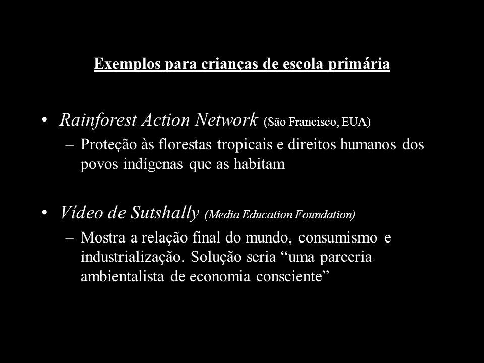 Exemplos para crianças de escola primária Rainforest Action Network (São Francisco, EUA) –Proteção às florestas tropicais e direitos humanos dos povos