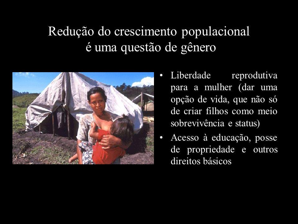 Redução do crescimento populacional é uma questão de gênero Liberdade reprodutiva para a mulher (dar uma opção de vida, que não só de criar filhos com