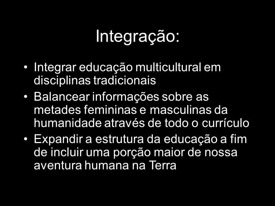 Integração: Integrar educação multicultural em disciplinas tradicionais Balancear informações sobre as metades femininas e masculinas da humanidade at