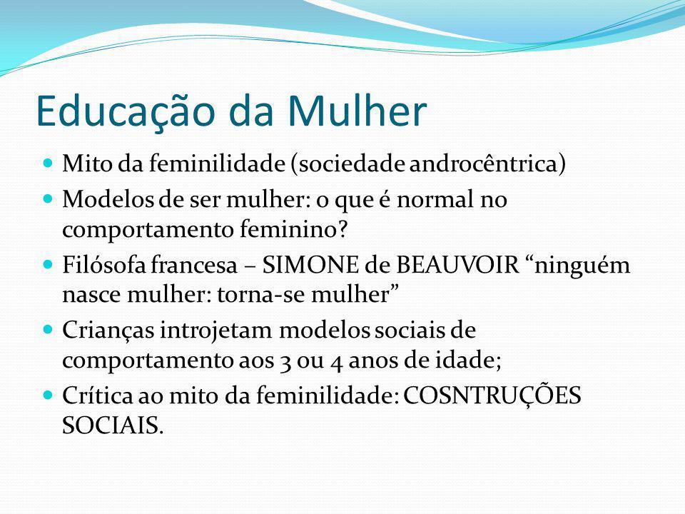 Educação da Mulher Mito da feminilidade (sociedade androcêntrica) Modelos de ser mulher: o que é normal no comportamento feminino? Filósofa francesa –