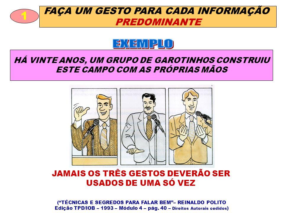 FAÇA UM GESTO PARA CADA INFORMAÇÃO PREDOMINANTE 1 HÁ VINTE ANOS, UM GRUPO DE GAROTINHOS CONSTRUIU ESTE CAMPO COM AS PRÓPRIAS MÃOS (TÉCNICAS E SEGREDOS PARA FALAR BEM– REINALDO POLITO Edição TPD/IOB – 1993 – Módulo 4 – pág.