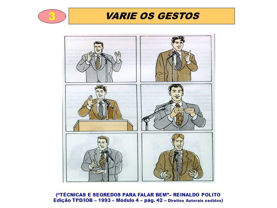VARIE OS GESTOS 3 (TÉCNICAS E SEGREDOS PARA FALAR BEM– REINALDO POLITO Edição TPD/IOB – 1993 – Módulo 4 – pág.