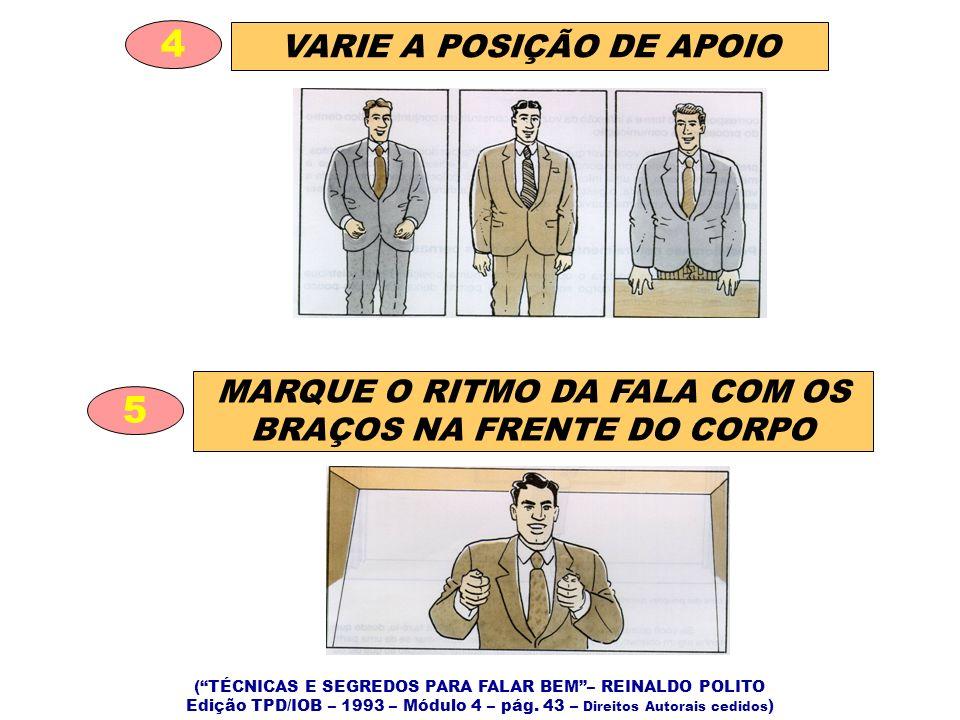 VARIE A POSIÇÃO DE APOIO 4 MARQUE O RITMO DA FALA COM OS BRAÇOS NA FRENTE DO CORPO 5 (TÉCNICAS E SEGREDOS PARA FALAR BEM– REINALDO POLITO Edição TPD/IOB – 1993 – Módulo 4 – pág.