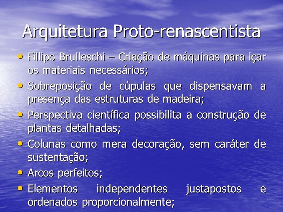 Arquitetura Proto-renascentista Fillipo Brulleschi – Criação de máquinas para içar os materiais necessários; Fillipo Brulleschi – Criação de máquinas