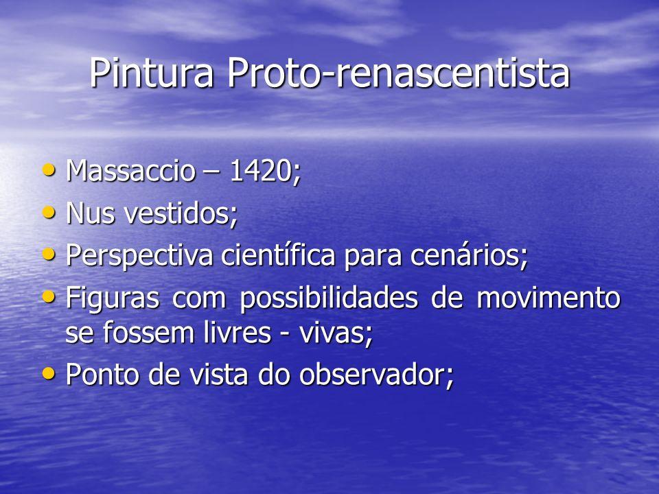 Pintura Proto-renascentista Massaccio – 1420; Massaccio – 1420; Nus vestidos; Nus vestidos; Perspectiva científica para cenários; Perspectiva científi