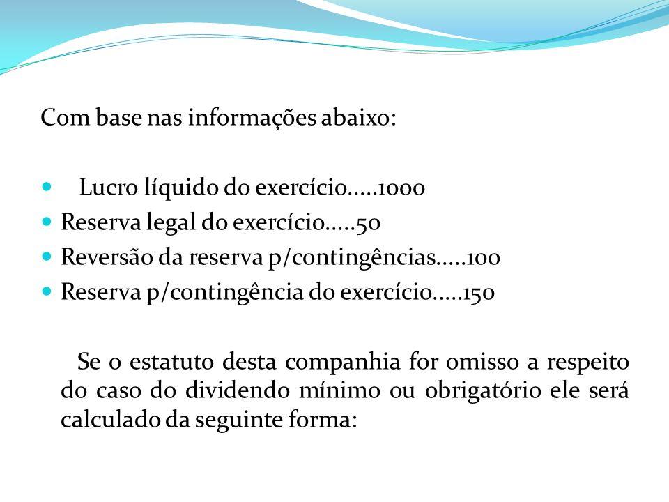 Com base nas informações abaixo: Lucro líquido do exercício.....1000 Reserva legal do exercício.....50 Reversão da reserva p/contingências.....100 Res
