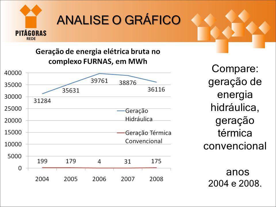 Compare: geração de energia hidráulica, geração térmica convencional anos. 2004 e 2008. ANALISE O GRÁFICO