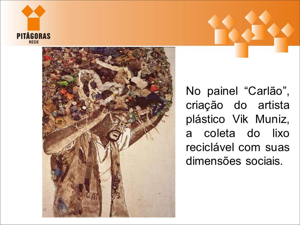 No painel Carlão, criação do artista plástico Vik Muniz, a coleta do lixo reciclável com suas dimensões sociais.