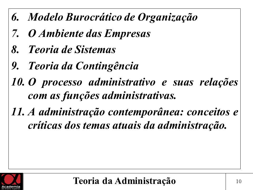 10 Teoria da Administração 6.Modelo Burocrático de Organização 7.O Ambiente das Empresas 8.Teoria de Sistemas 9.Teoria da Contingência 10.O processo a