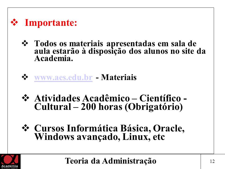 12 Teoria da Administração Importante: Todos os materiais apresentadas em sala de aula estarão à disposição dos alunos no site da Academia. www.aes.ed