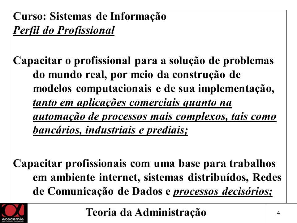 4 Curso: Sistemas de Informação Perfil do Profissional Capacitar o profissional para a solução de problemas do mundo real, por meio da construção de m