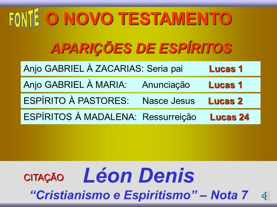 Lucas 1 Anjo GABRIEL À ZACARIAS: Seria pai Lucas 1 Lucas 1 Anjo GABRIEL À MARIA: Anunciação Lucas 1 Lucas 2 ESPÍRITO À PASTORES: Nasce Jesus Lucas 2 Lucas 24 ESPÍRITOS À MADALENA: Ressurreição Lucas 24 O NOVO TESTAMENTO APARIÇÕES DE ESPÍRITOS APARIÇÕES DE ESPÍRITOS Léon Denis Cristianismo e Espiritismo – Nota 7 CITAÇÃO