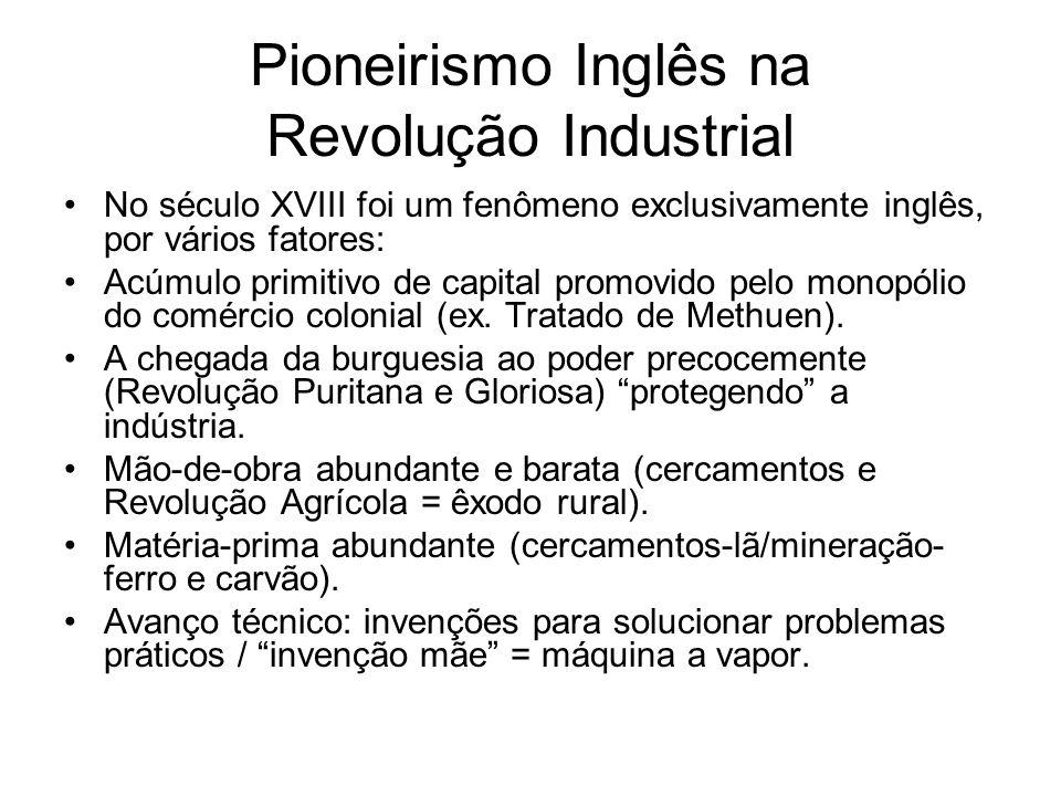 Pioneirismo Inglês na Revolução Industrial No século XVIII foi um fenômeno exclusivamente inglês, por vários fatores: Acúmulo primitivo de capital pro