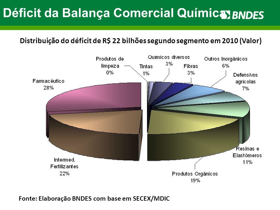 Déficit da Balança Comercial Química Distribuição do déficit de R$ 22 bilhões segundo segmento em 2010 (Valor) Fonte: Elaboração BNDES com base em SEC