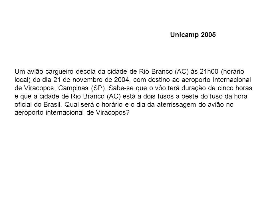 Um avião cargueiro decola da cidade de Rio Branco (AC) às 21h00 (horário local) do dia 21 de novembro de 2004, com destino ao aeroporto internacional