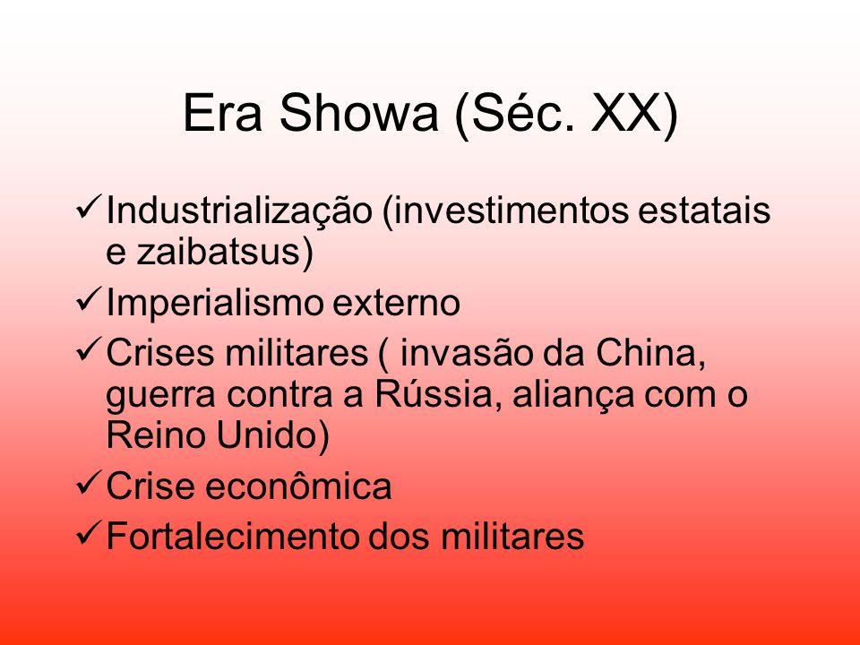 Era Showa (Séc. XX) Industrialização (investimentos estatais e zaibatsus) Imperialismo externo Crises militares ( invasão da China, guerra contra a Rú