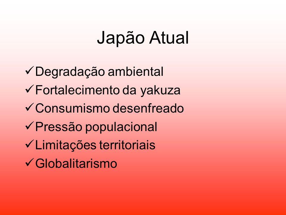 Japão Atual Degradação ambiental Fortalecimento da yakuza Consumismo desenfreado Pressão populacional Limitações territoriais Globalitarismo