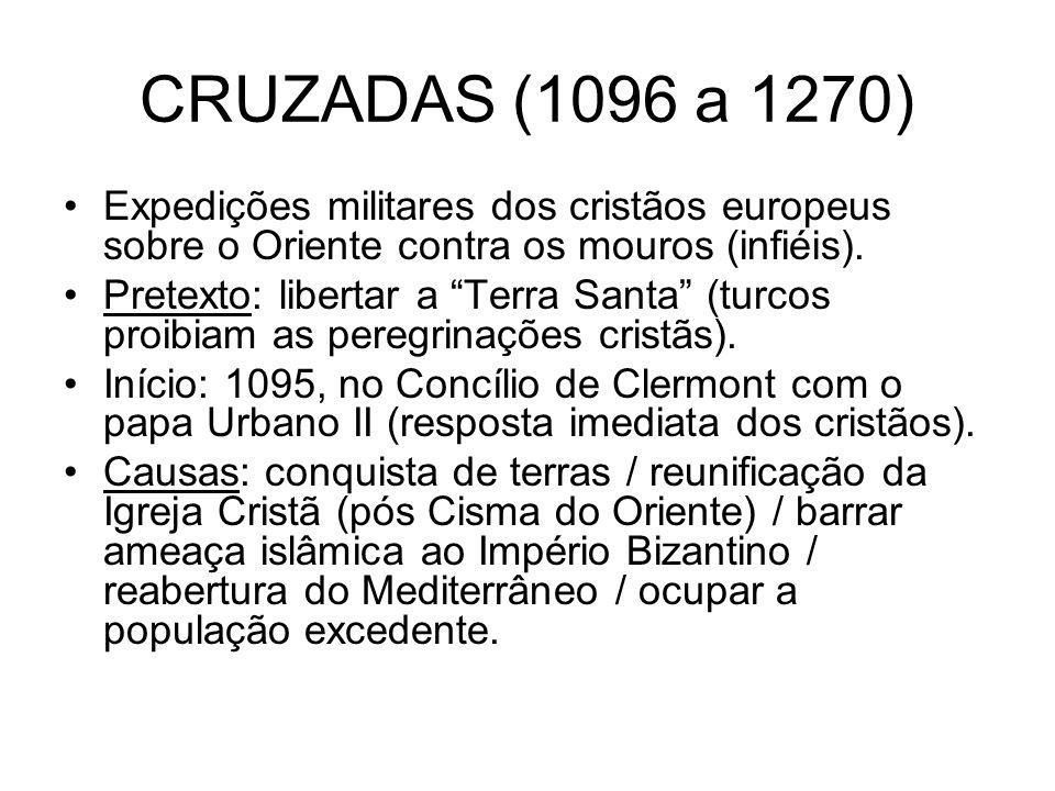 CRUZADAS (1096 a 1270) Expedições militares dos cristãos europeus sobre o Oriente contra os mouros (infiéis). Pretexto: libertar a Terra Santa (turcos