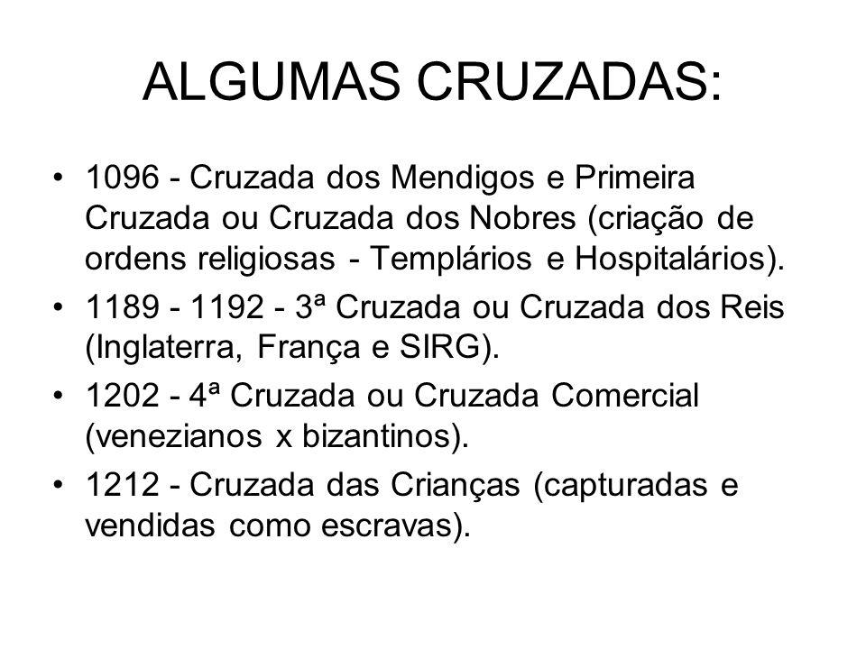 ALGUMAS CRUZADAS: 1096 - Cruzada dos Mendigos e Primeira Cruzada ou Cruzada dos Nobres (criação de ordens religiosas - Templários e Hospitalários). 11
