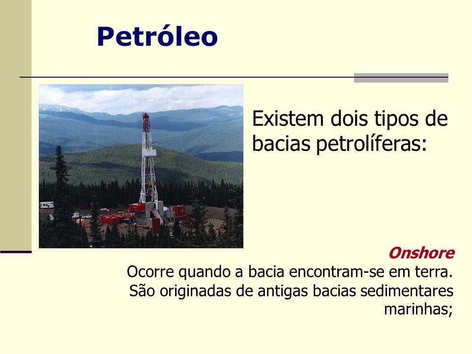Existem dois tipos de bacias petrolíferas: Onshore Ocorre quando a bacia encontram-se em terra. São originadas de antigas bacias sedimentares marinhas