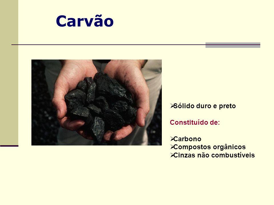 Sólido duro e preto Constituído de: Carbono Compostos orgânicos Cinzas não combustíveis
