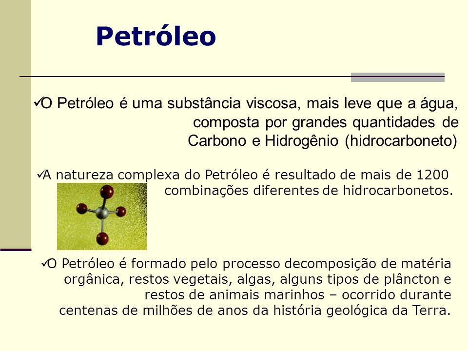 Petróleo O Petróleo é uma substância viscosa, mais leve que a água, composta por grandes quantidades de Carbono e Hidrogênio (hidrocarboneto) A nature
