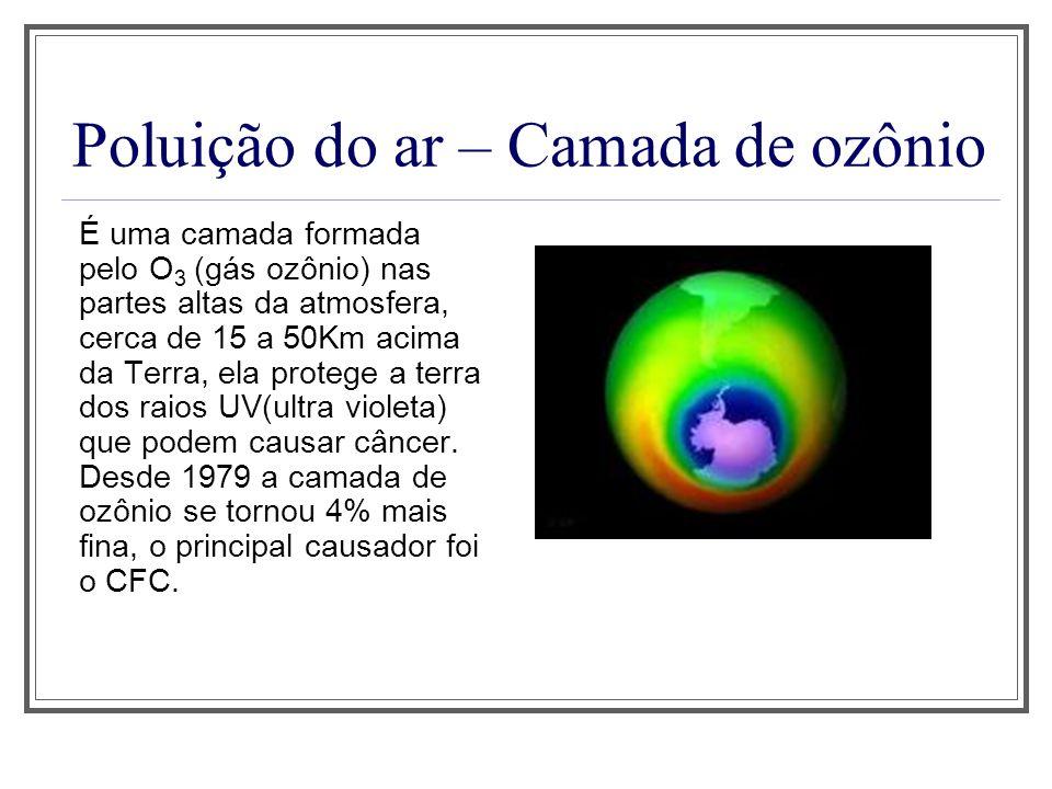Poluição do ar – Camada de ozônio É uma camada formada pelo O 3 (gás ozônio) nas partes altas da atmosfera, cerca de 15 a 50Km acima da Terra, ela pro
