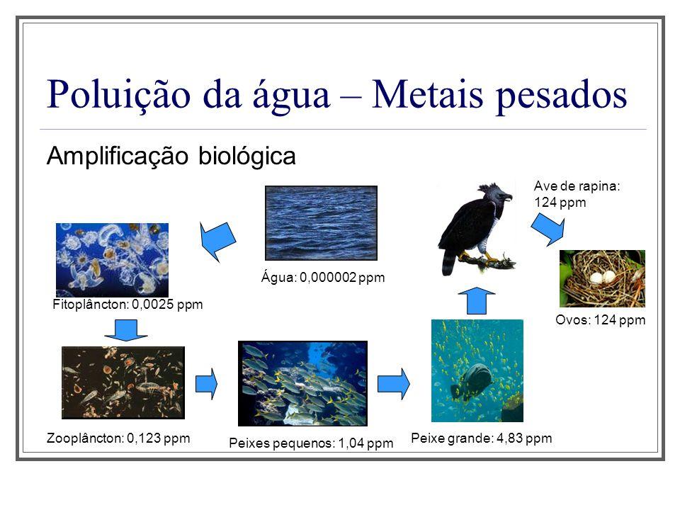 Poluição da água – Metais pesados Amplificação biológica Água: 0,000002 ppm Fitoplâncton: 0,0025 ppm Zooplâncton: 0,123 ppm Peixes pequenos: 1,04 ppm