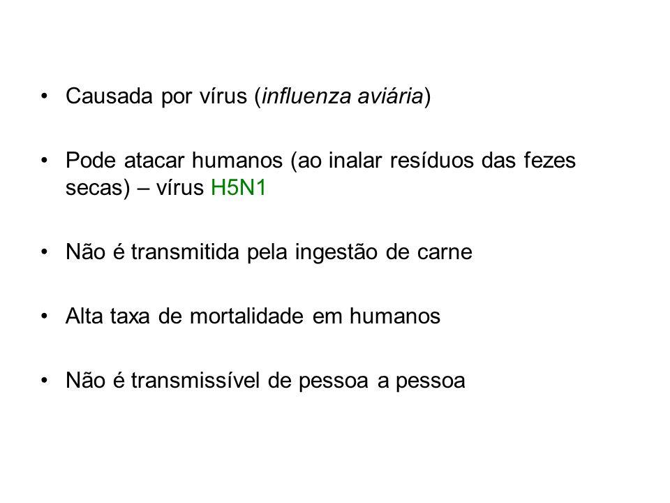 Causada por vírus (influenza aviária) Pode atacar humanos (ao inalar resíduos das fezes secas) – vírus H5N1 Não é transmitida pela ingestão de carne A