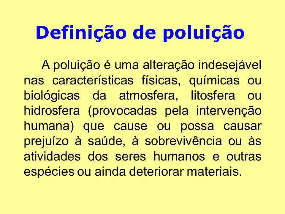 Definição de poluição A poluição é uma alteração indesejável nas características físicas, químicas ou biológicas da atmosfera, litosfera ou hidrosfera